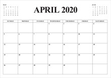 April 2020 Desk Calendar Vecto...