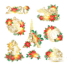 Xmas Elements Collection. Merry Christmas Simbols With Poinsettia Design Elements Set. Happy New Year Collection. Vector Illustration.