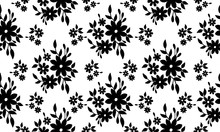 Black Flower Silhouette, Abstract Floral Pattern Background.