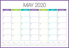 May 2020 Desk Calendar Vector ...