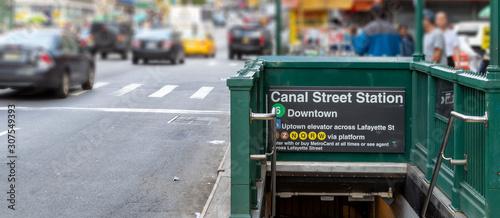 Fototapeta Subway entrance to the 6 train on Canal Street in Manhattan New York City obraz