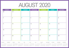 August 2020 Desk Calendar Vector Illustration