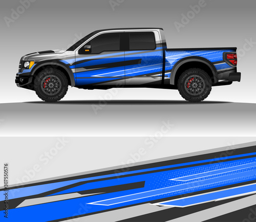 фотография Car wrap decal design vector, for advertising or custom livery WRC style, race rally car vehicle sticker and tinting custom