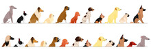 Set Of  Side View Large And Small Dogs Border