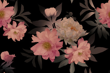 Fototapeta Vintage Beautiful blooming pink flowers peonies on black. Floral seamless pattern. Fashion background. Design for paper, wallpaper, decoration packaging, textile. Vintage illustration art.