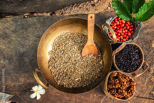 Robusta, Arabica, coffee berries, coffee beans Wallpaper Mural