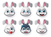 Emoticons And Emoji Rabbit Face Vector Set. Rabbits Bunny Faces Animal Emojis In Naughty, Crying, Excited, Smiling And Happy Facial Expressions Isolated In White Background. Vector Illustration.