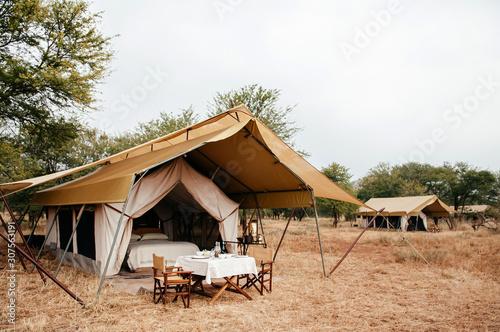 Carta da parati Luxury Safari tent camp in Serengeti Savanna forest - Glamping travel in Africa