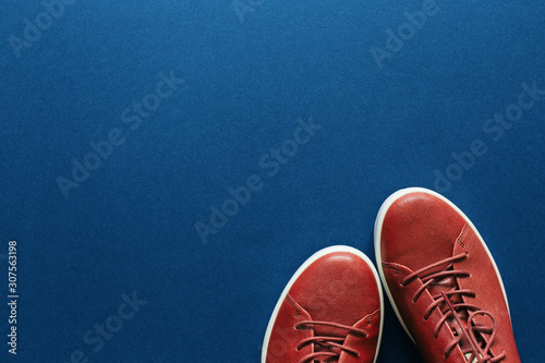 A pair of classic female's sneakers on blue background. Woman;s shoes.