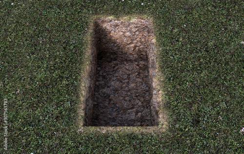 Open Empty Grave Hole Canvas Print