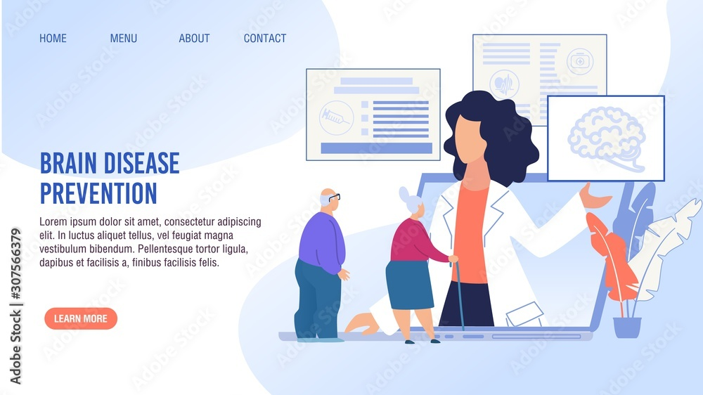 Fototapeta Brain Disease Prevention, Early Determination, Treatment. Cartoon Old Senior Man and Aged Woman Pensioner Having Online Doctor Consolation. Flat Landing Page Layout Design. Vector Illustration