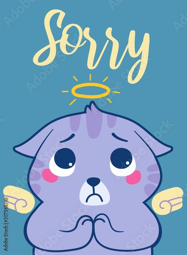 Poster with sad cat and sorry lettering Canvas Print