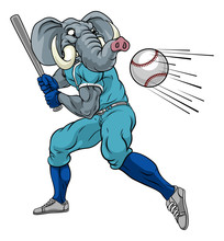 An Elephant Baseball Player Cartoon Animal Mascot Swinging A Bat At A Fast Ball