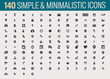 140 Simple, minimalistic isolated icon set, vector flat icons