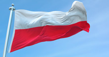 3D Rendering Poland National Flag Textile Cloth Fabric Waving On The Top -Illustration