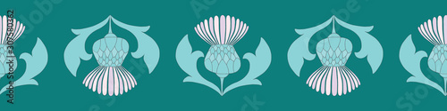 Photo Scottish Highland thistle seamless border vector design in purple and green