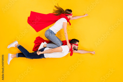 фотография Top view above high angle flat lay flatlay lie view concept of her she his he fo