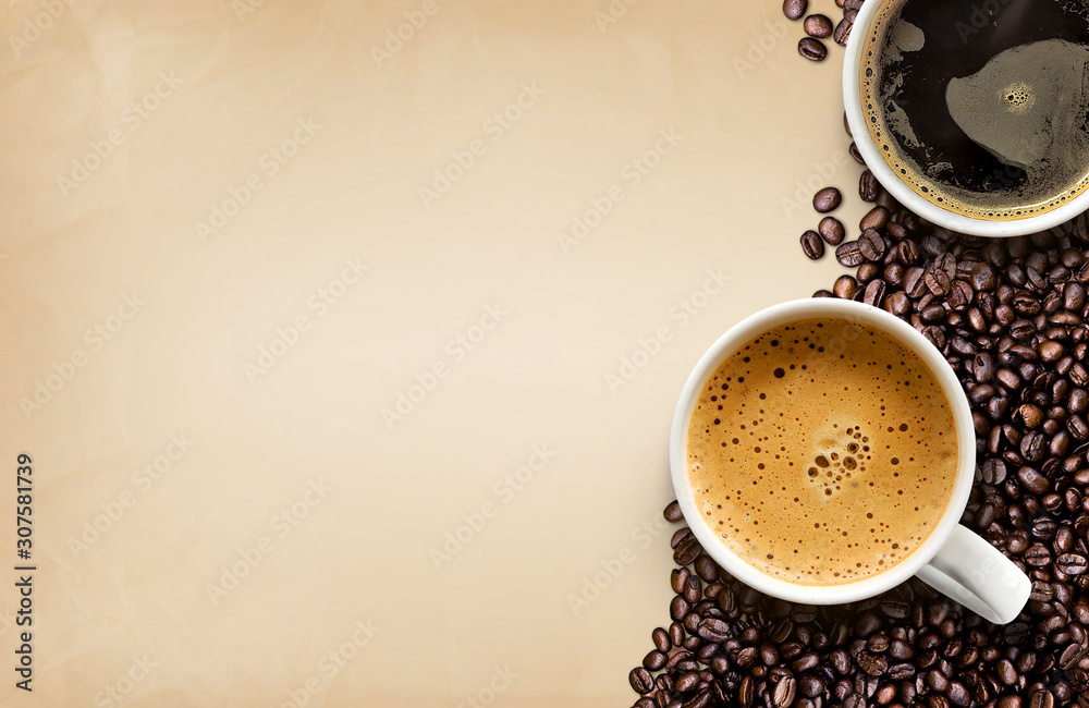 cup of coffee and beans on old brown paper texture