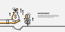 Invesment On Yellow Background, Growing Business Finance Concpet