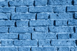 Trendy Color of the year 2020 Classic Blue old brick wall texture grunge for decorative design, banner, card. Aged trend colour rough dirty background. Wallpaper messy cracked surface
