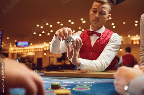 Photo Casino betting gambling game poker roulette concept.