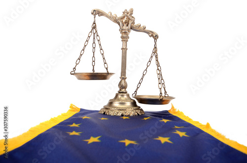 Fotografia Scales of Justice and European Union flag