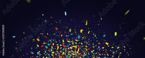 Obraz Holiday background with flying colorful confetti - fototapety do salonu