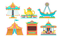 Amusement Park Attractions Set, Carousels, Circus Tent, Ticket Booth Vector Illustration