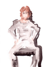 Watercolor Boy Sitting On A Ch...