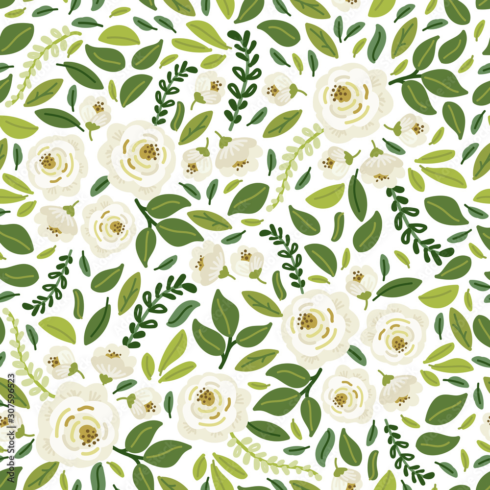 Fototapeta Cute botanical floral seamless pattern background with bouquets of hand drawn rustic white roses flowers and green leaves branches