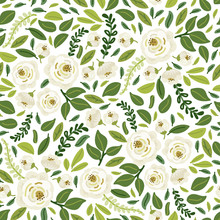 Cute Botanical Floral Seamless Pattern Background With Bouquets Of Hand Drawn Rustic White Roses Flowers And Green Leaves Branches