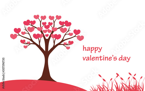 Fotomural  Valentines day background with heart pattern and typography of happy valentines day text