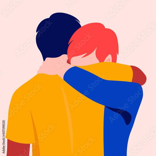 Cuadros en Lienzo Two men hug each other