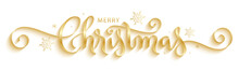MERRY CHRISTMAS Gold Metallic Brush Calligraphy Banner With Snowflakes