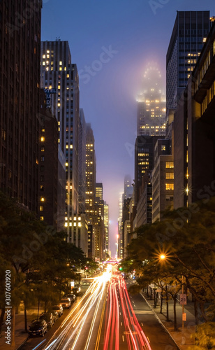 New York City skyscrapers from Tudor City in Manhattan at night with long exposure