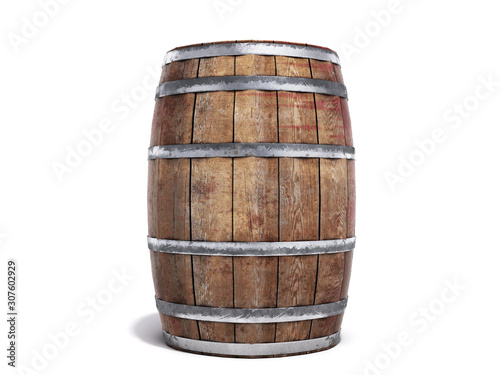 Photo Wooden barrel isolated on white background 3d illustration