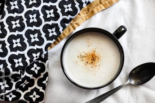 Cauliflower Soup (Creme du Barry) in black bowl Canvas Print