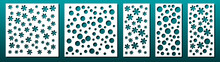 Laser Cut Panels, Set Of Templates. Geometric Pattern. For Metal Cutting Stencil, Paper Art, Card Background Design, Wood Carving, Fretwork. Vector Illustration.
