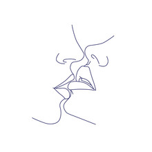 Kissing Couple, Kiss, Lips. Abstract, Modern Art. Fashion Concept, One Line Drawing For Use In Design.