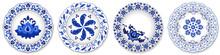 Set Of Blue Porcelain Plates, ...