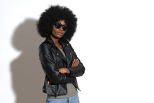 Sexy Afro Girl In Black Leathe...