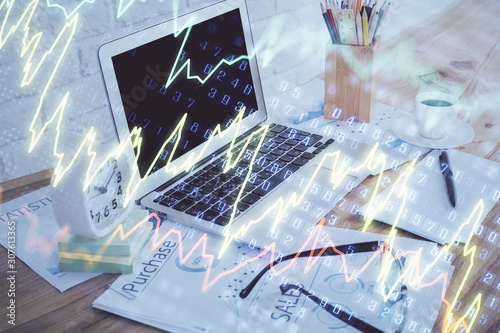 Recess Fitting Graphic Prints Stock market graph and table with computer background. Multi exposure. Concept of financial analysis.