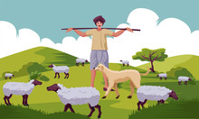Indian Shepherd With Stick And...
