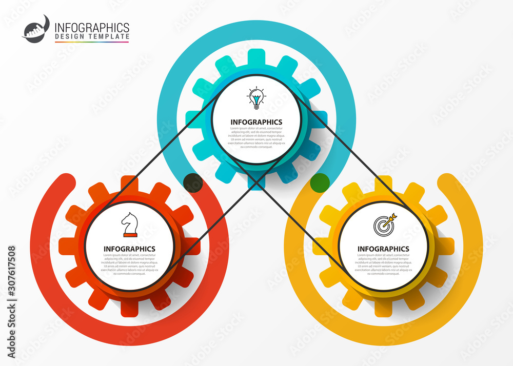 Fototapeta Infographic design template. Creative concept with 3 steps