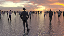 Many People Walk And Stand On The Water Surface. Human Silhouettes On A Background Of A Sunset On A Calm Sea. Superpowers Of A Person. Conceptual Creative Illustration. 3D Rendering.