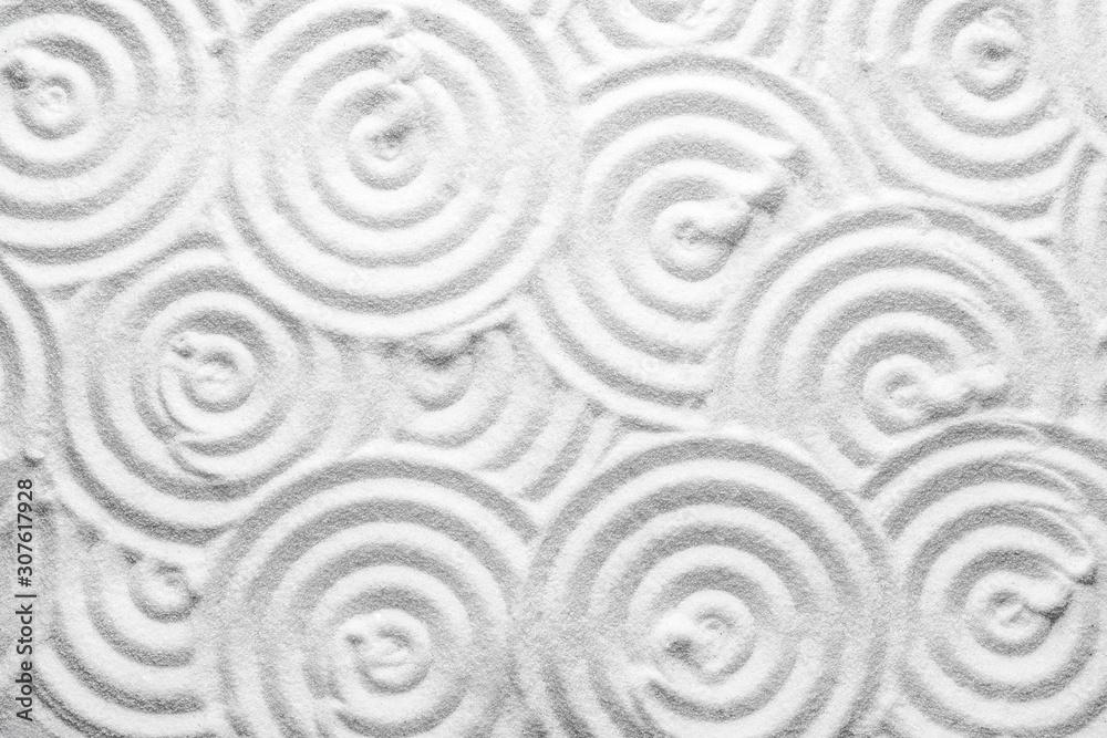 Fototapeta White sand with pattern as background, top view. Zen, meditation, harmony