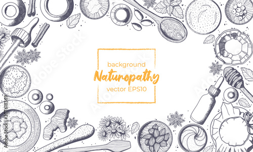 Monochrome vector horizontal background with copy space for text and hand drawn illustration of naturopathy elements in sketch style Fototapeta