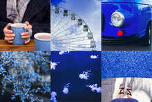 Collage Of Photos In Blue Mode...