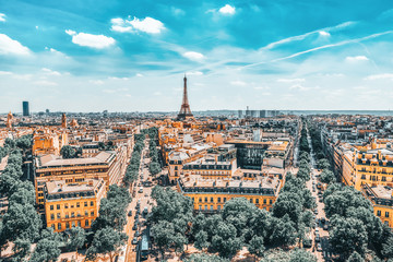 Obraz na Szkle Miasta Beautiful panoramic view of Paris from the roof of the Triumphal Arch. View of the Eiffel Tower.