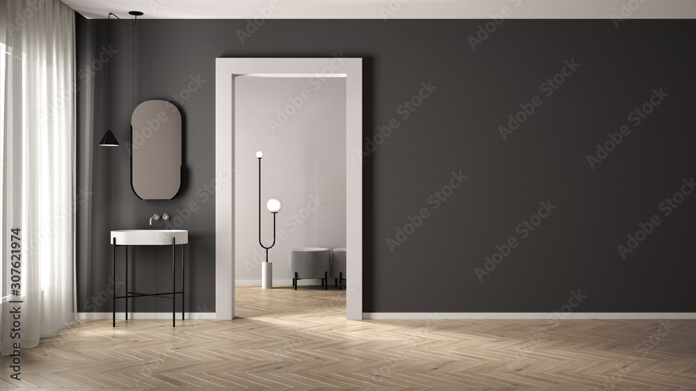 Minimalist bathroom with plaster walls and parquet floor, empty room with sink and mirror, door with room in the background. White and gray interior design concept with copy space - obrazy, fototapety, plakaty